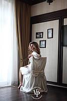 """Набор """"УТРО НЕВЕСТЫ"""" : свадебный халатик с надписью Bride и накидка на стул цвет айвори"""