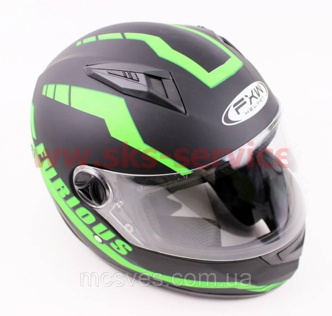 Шлем закрытый HF-111 L- ЧЕРНЫЙ матовый с зеленым рисунком Q154