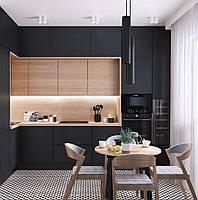 Кухня на заказ черный матовый фасад + шпон дуба