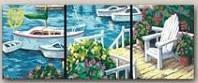 Картина раскраска триптих по номерам MENGLEI Солнечный причал