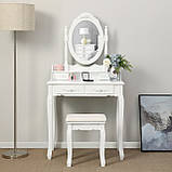 Косметичний столик з похилим дзеркалом і пуфом, фото 8