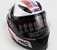 HRC Шлем закрытый HONDA XL - БЕЛЫЙ с рисунком черно-синим, фото 1