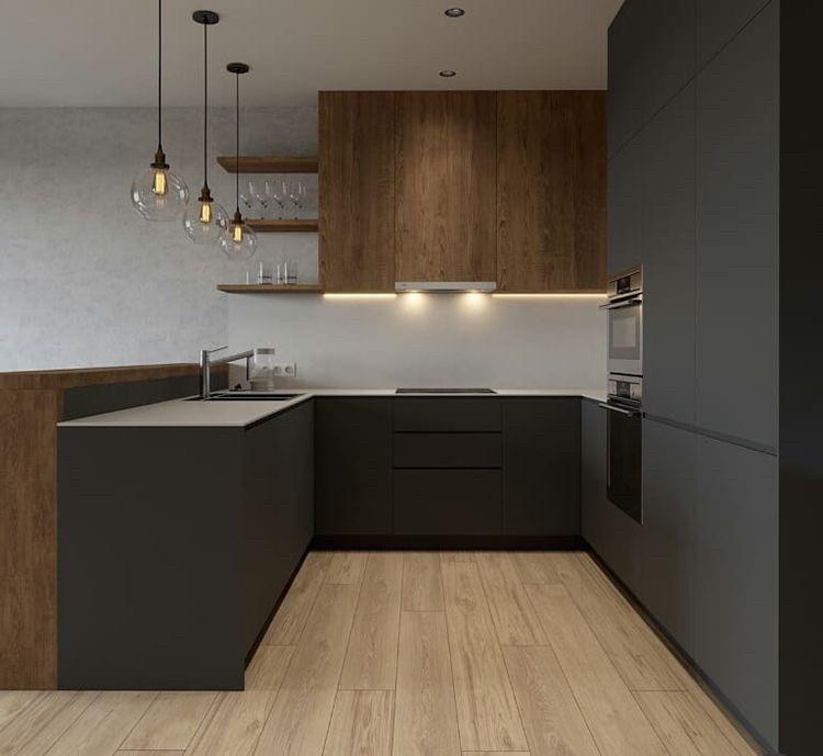 Кухня на заказ графитовая матовая + шпон дуба