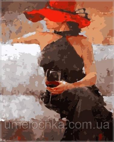 Картина по номерам на холсте Babylon С бокалом вина