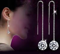 Серьги - цепочки с кристаллом. Ювелирная бижутерия, покрытие: серебро 925.