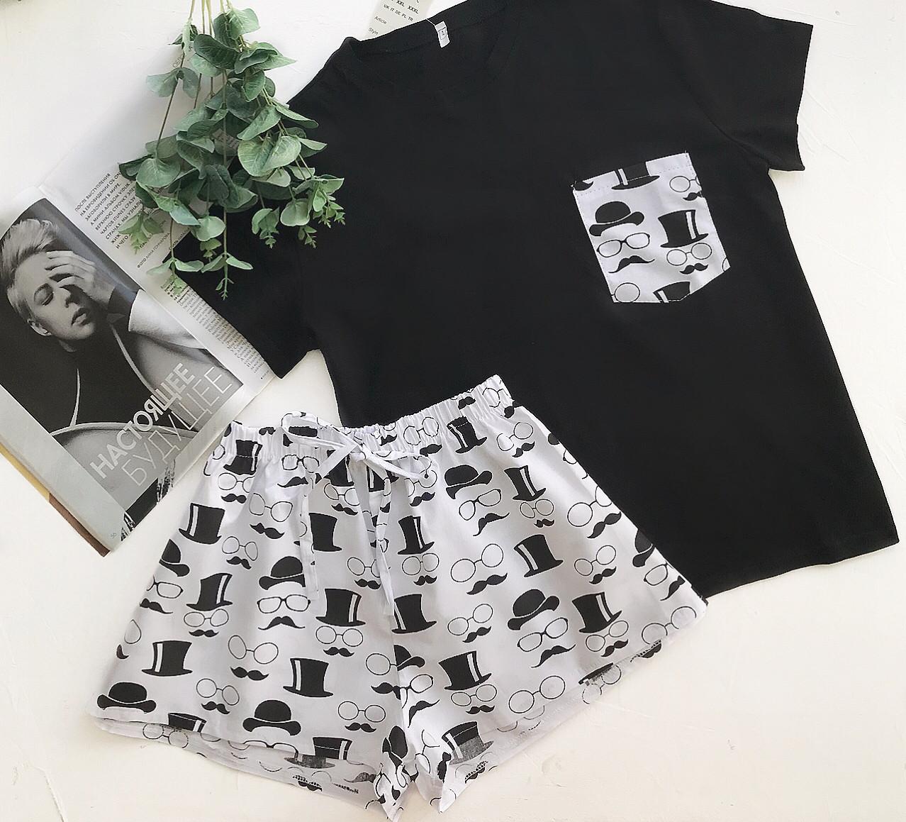 Пижама футболка и шорты S-M очки