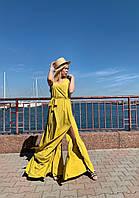 """Длинное летнее платье без рукавов """"ИРЕН"""" с разрезами (2 цвета)"""