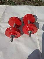 Гантели  металлические наборные 2 шт по 15 кг каждая. Шаг веса 1кг., фото 1