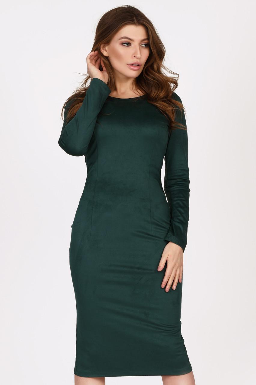 Замшевое платье миди изумрудное