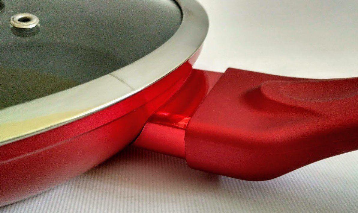 Сковорідка Bohmann BH 1009-28 антипригарне марморное покриття з кришкою червона 28 см