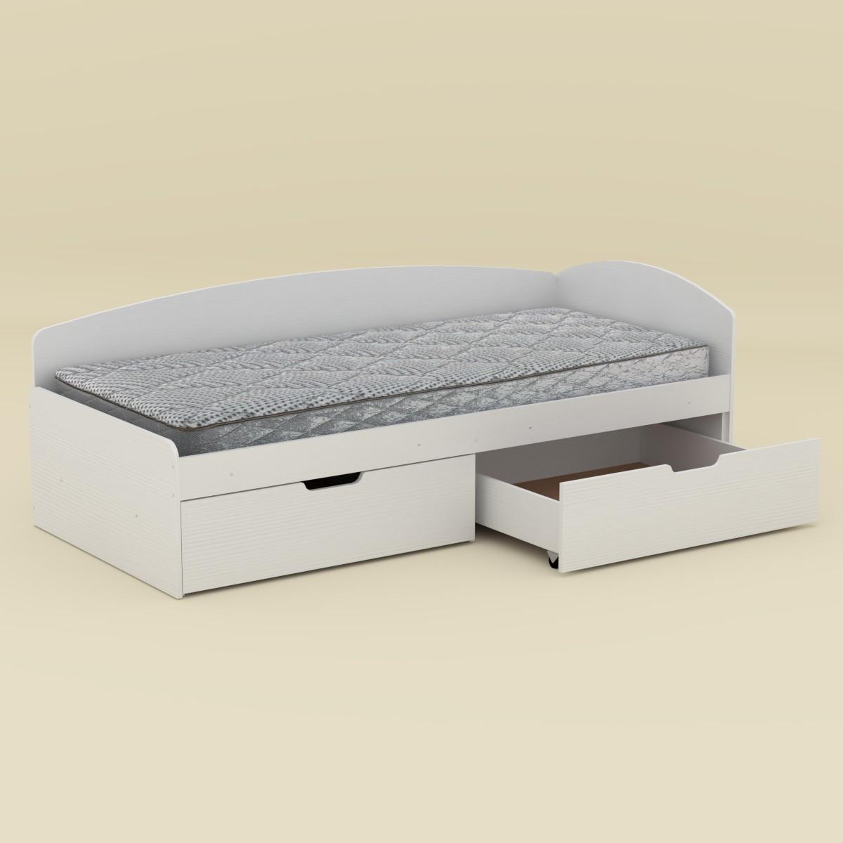 Кровать 90+2С нимфея альба (белый) Компанит (95х204х70 см)