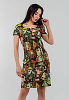 Женское платье полуприталенного силуэта с интестным принтом Modniy Oazis зеленый 90187, фото 1