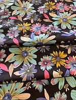 Ткань летний джинс чёрный с цветами