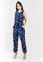 Жіночий легкий комбінезон джинс з кишенями приталений на резинці Modniy Oazis синій 90205, фото 1