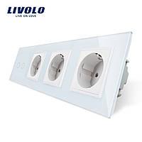 Сенсорный выключатель на две линии с тремя розетками Livolo, цвет белый, стекло (VL-C702/C7C3EU-11), фото 1