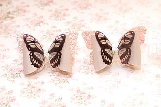 Бантики для волос на резинке детские в школу / украшение для девочки Бабочка черно белая Набор 2 штуки
