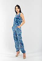 Жіночий легкий комбінезон джинс з кишенями приталений на резинці Modniy Oazis блакитний 90205, фото 1