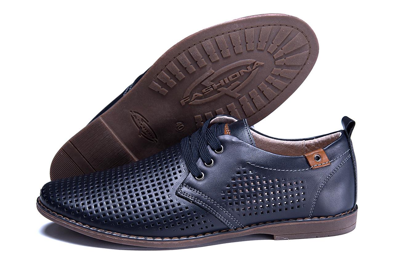 824804455 Мужские летние туфли, натур кожа, перфорация , KungFu синий шнр - Интернет  - магазин