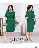 Нарядное летнее зеленое платье большого размера №8-145, с шифоновой драпировкой 60