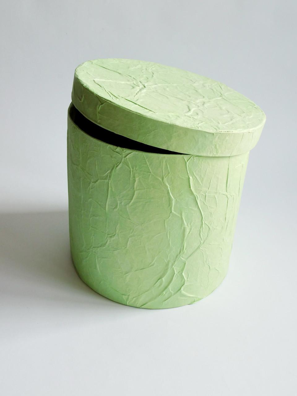 Коробка кругла салатова 14*14 см