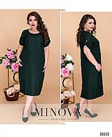 Платье лен норма и большие размеры №5108.19-темно-зеленый размеры 44-46,48-50,52-54,
