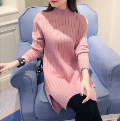 Женский теплый свитер-туника розовый опт