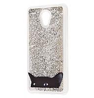 Чехол-накладка (Жидкий Блеск) Black Cat для Meizu M6s Silver