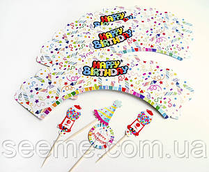 Набор декоративные накладок для капкейков с топперами, 12 шт