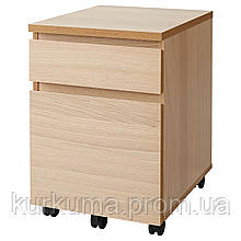 IKEA MALM Комод на колесах, дуб окрашенный в белый цвет  (504.178.74)