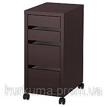IKEA MICKE Комод на колесах, черно-коричневый  (802.447.49)