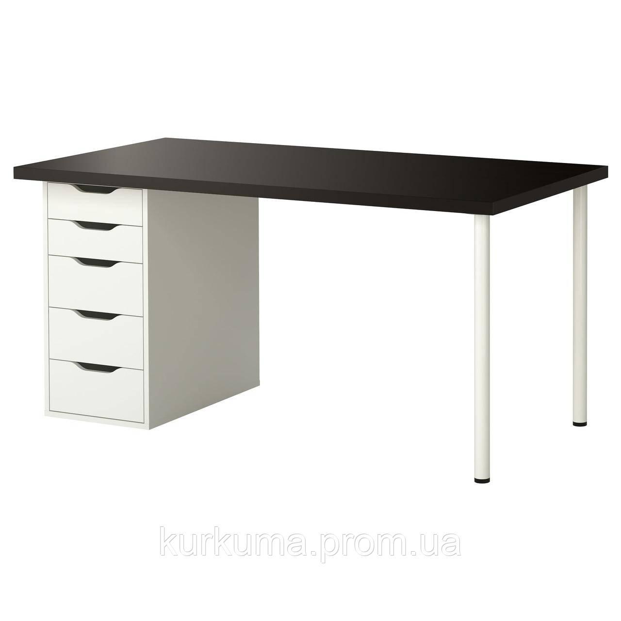 IKEA LINNMON/ALEX Стол, черно-коричневый, белый  (799.326.97)