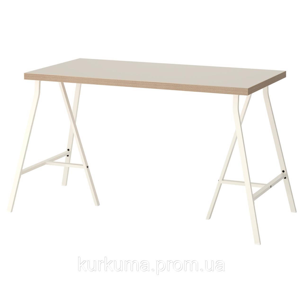 IKEA LINNMON/LERBERG Стол, бежевый, белый  (992.142.76)