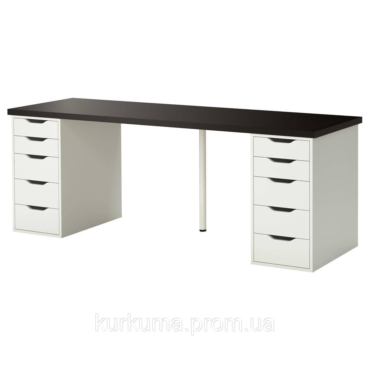 IKEA LINNMON/ALEX Стол, черно-коричневый, белый  (999.326.96)