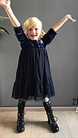 Платье детское теплое,бархатное(синее)
