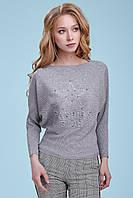 Женский нарядный свитер, серый, свободный, повседневный, городской, молодёжный, джемпер