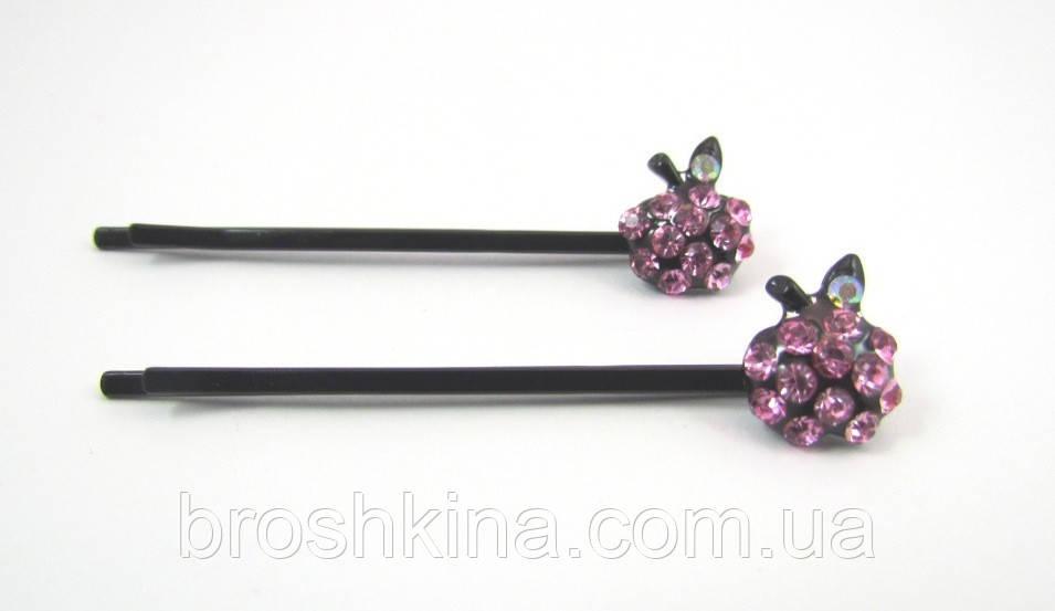 Невидимки Яблочко черные с розовыми стразами 5,5 см