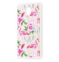 Чехол-накладка (Жидкий Блеск) Flamingo and Cactus для Meizu M6s Pink