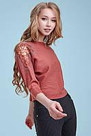 Женский нарядный свитер, марсала, с кружевом и стразами, свободный, повседневный,городской,молодёжный, джемпер
