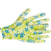 Перчатки садовые из полиэстера с нитрильным обливом зеленые L Palisad 677438