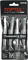 Набор пинцетов Toptul Tweezers Set JGAA0401 (4 шт.)
