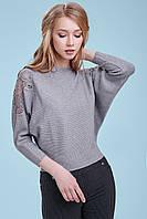 Женский нарядный свитер, серый, с кружевом и стразами, свободный, повседневный,городской,молодёжный, джемпер
