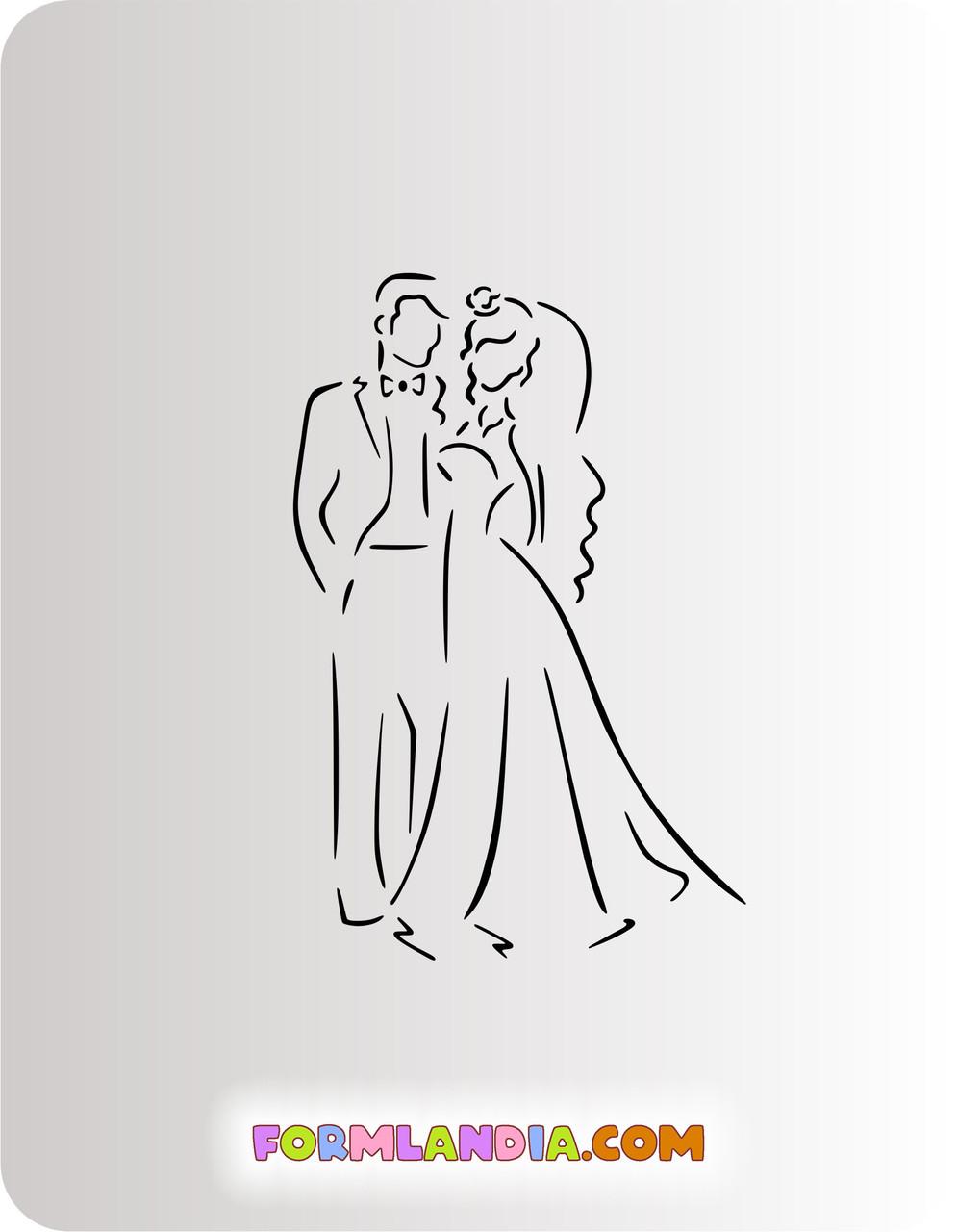 Трафарет Жених  и невеста №3