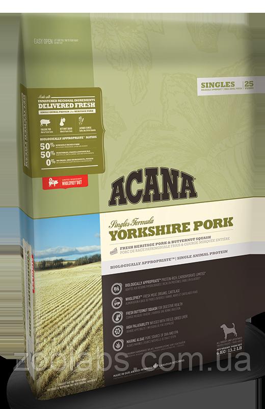 Корм Acana для собак и щенков со свининой   Acana Yorkshire Pork 6,0 кг