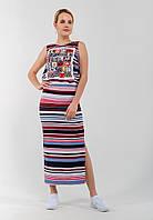 Стильное женское платье в пол с принтом и разрезом сбоку 90293/2, фото 1