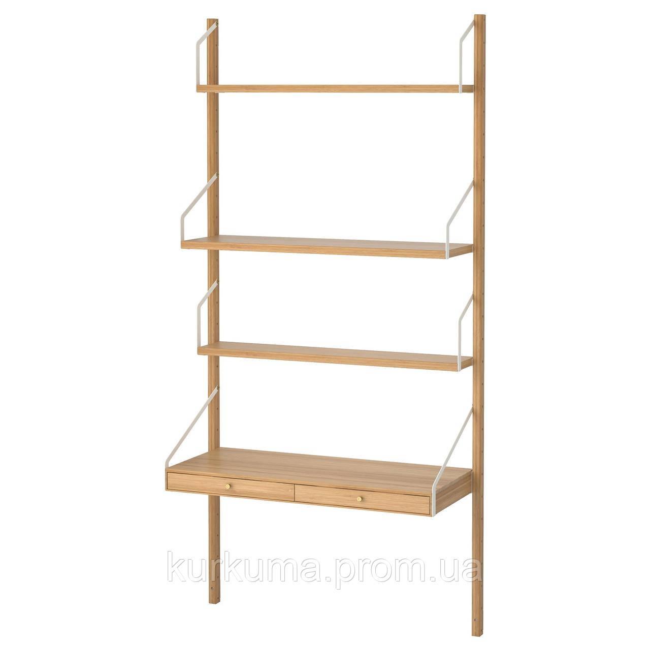 IKEA SVALNAS Пристенный стол, бамбук  (091.844.48)