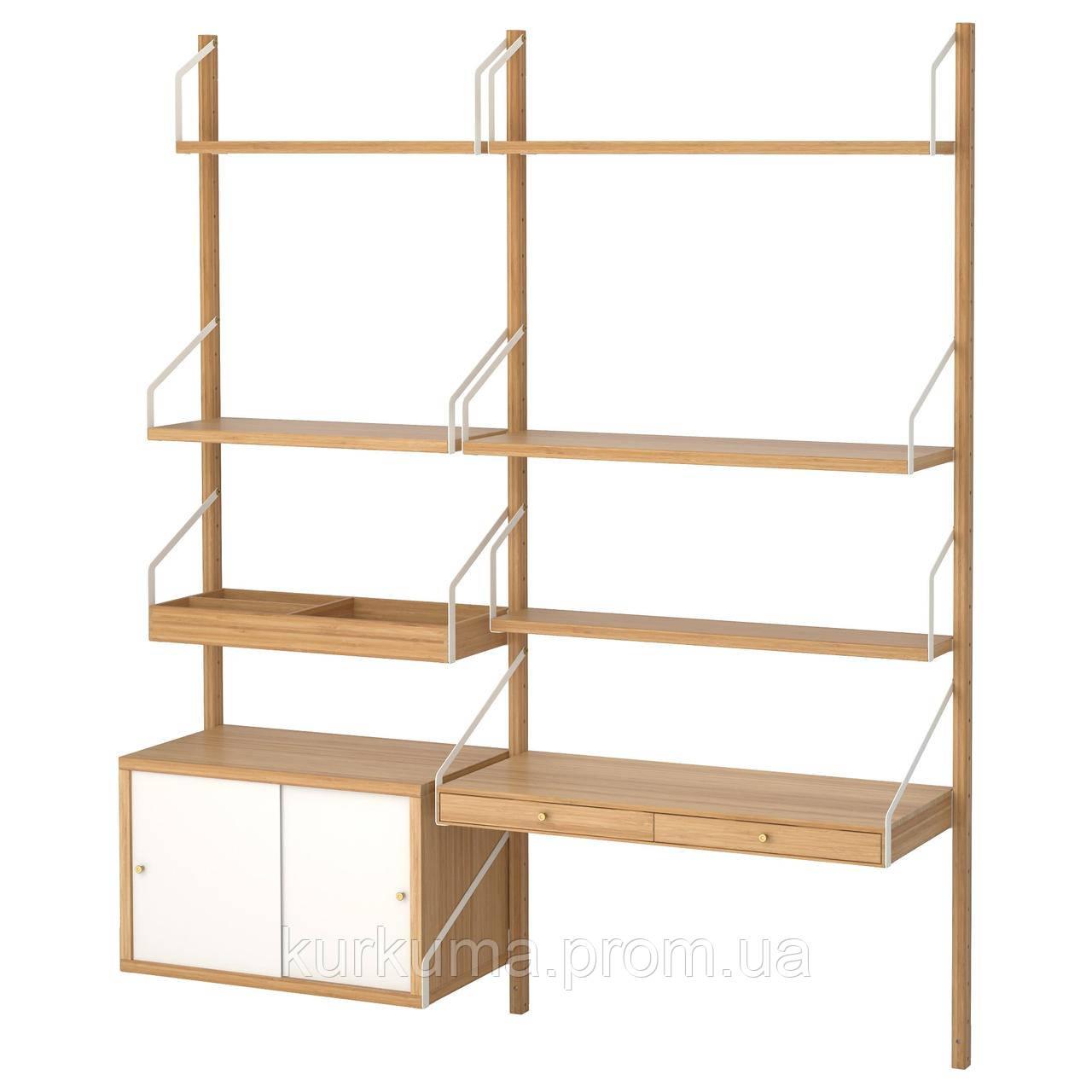 IKEA SVALNAS Пристенный стол, бамбук, белый  (291.844.52)