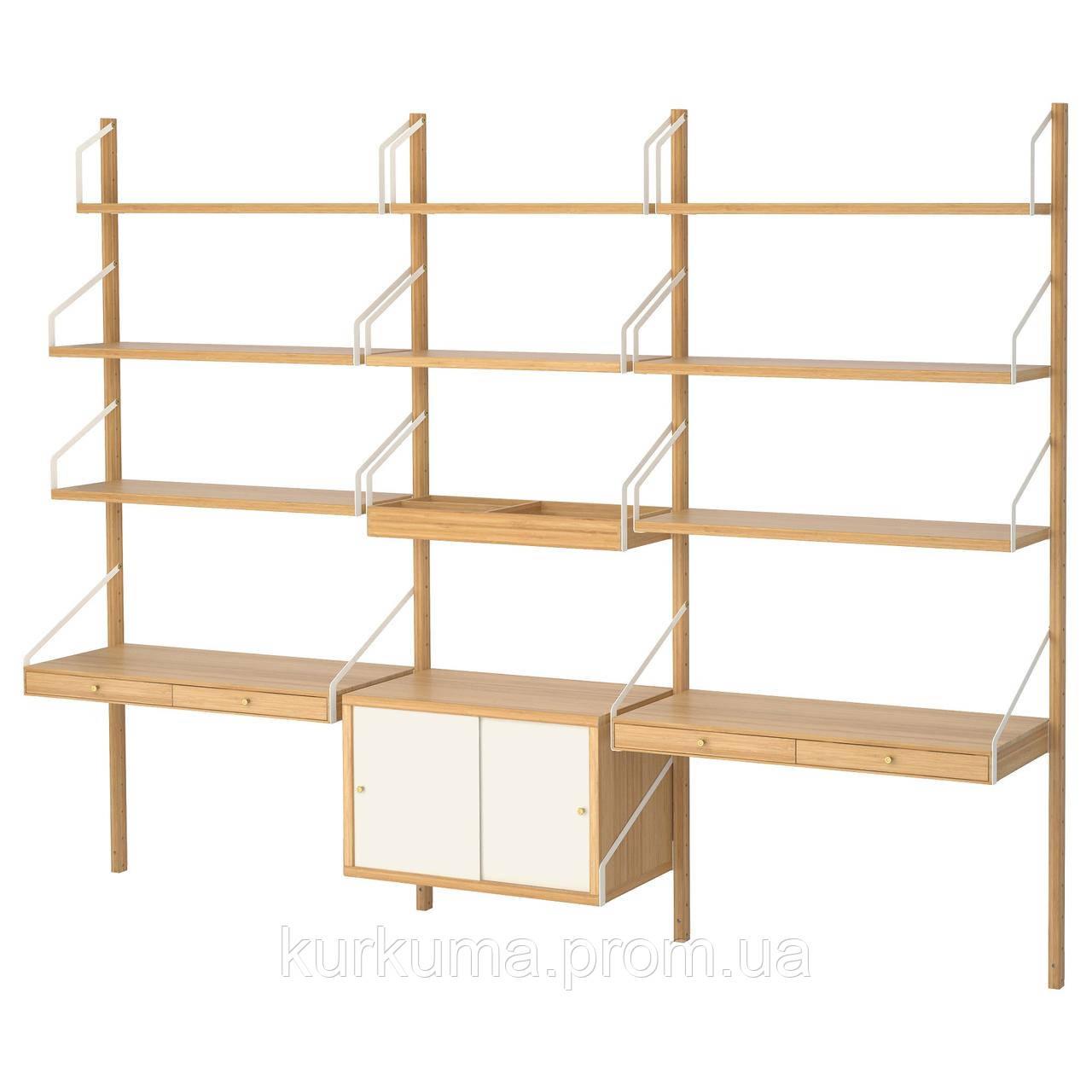 IKEA SVALNAS Пристенный стол, бамбук, белый  (191.844.62)