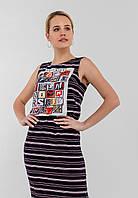 Стильное женское платье в пол с принтом и разрезом сбоку 90293, фото 1
