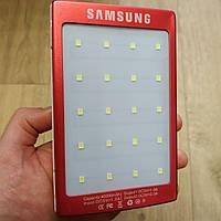Power Bank Samsung 40000 mAh с солнечной батареей и фонарик 20SMD внешний аккумулятор Самсунг красный