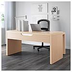 IKEA MALM Стол с выдвижной панелью, белая Морилка дубовый шпон  (503.598.26), фото 3